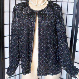 NITELINE Beaded/Sequin Black 100% Silk Jacket Sz L